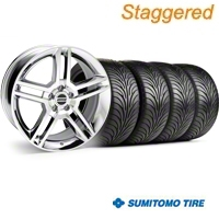 Staggered 2010 GT500 Style Chrome Wheel & Sumitomo Tire Kit - 18x9/10 (94-98 All) - American Muscle Wheels 28220||28223||63005||63006||KIT
