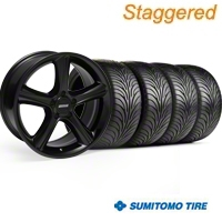 Staggered Black 2010 Style GT Premium Wheel & Sumitomo Tire Kit - 18x9/10 (94-98 All) - AmericanMuscle Wheels KIT||28210||28213||63005||63006