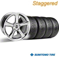Staggered Chrome 2010 Style GT Premium Wheel & Sumitomo Tire Kit - 18x9/10 (94-98 All) - AmericanMuscle Wheels KIT||28211||28214||63005||63006