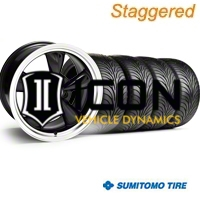 Staggered Black Bullitt Wheel & Sumitomo Tire Kit - 18x9/10 (94-98 All) - AmericanMuscle Wheels KIT||28264||28270||63005||63006
