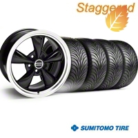 Staggered Bullitt Black Wheel & Sumitomo Tire Kit - 18x9/10 (94-98 All) - American Muscle Wheels 28264||28270||63005||63006||KIT