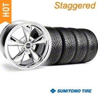 Staggered Chrome Bullitt Wheel & Sumitomo Tire Kit - 18x9/10 (94-98 All) - AmericanMuscle Wheels KIT||28265G94||28271||63005||63006