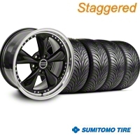 Staggered Bullitt Motorsport Black Wheel & Sumitomo Tire Kit - 18x9/10 (94-98 All) - American Muscle Wheels 10082||10083||63005||63006||KIT