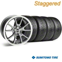 Staggered Anthracite FR500 Wheel & Sumitomo Tire Kit - 18x9/10 (94-98 All) - AmericanMuscle Wheels KIT||28099||28274||63005||63006