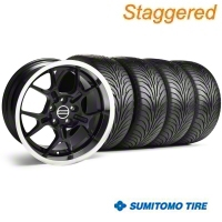 Staggered Black GT4 Wheel & Sumitomo Tire Kit - 18x9/10 (94-98 All) - AmericanMuscle Wheels KIT||28132||28146||63005||63006