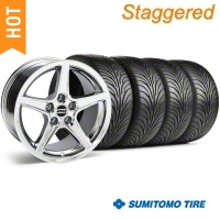 Staggered Chrome Saleen Style Wheel & Sumitomo Tire Kit - 18x9/10 (94-98 All) - AmericanMuscle Wheels KIT||28067||28251||63005||63006