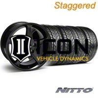 Staggered Black 1995 Style Cobra R Wheel & NITTO Tire Kit - 17x9/10.5 (94-98 All) - AmericanMuscle Wheels KIT||28084||28086||76012||76014