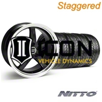 Staggered Black 1995 Style Cobra R Wheel & NITTO Tire Kit - 18x9/10 (94-98 All) - AmericanMuscle Wheels KIT||10095||10096||76002||76003