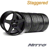 Staggered 2003 Cobra Black Wheel & NITTO Tire Kit - 17x9/10.5 (94-98 All) - American Muscle Wheels KIT