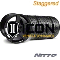 Staggered Black 2003 Cobra Wheel & NITTO Tire Kit - 17x9/10.5 (94-98 All) - AmericanMuscle Wheels KIT||28076||28077||76012||76014
