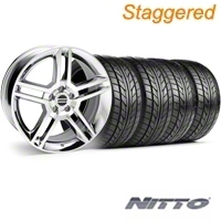 Staggered 2010 GT500 Style Chrome Wheel & NITTO Tire Kit - 18x9/10 (94-98 All) - American Muscle Wheels 28220||28223||76002||76003||KIT