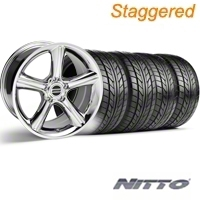 Staggered Chrome 2010 Style GT Premium Wheel & NITTO Tire Kit - 18x9/10 (94-98 All) - AmericanMuscle Wheels KIT||28211||28214||76002||76003