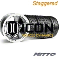 Staggered Anthracite Bullitt Wheel & NITTO Tire Kit - 17x9/10.5 (94-98 All) - AmericanMuscle Wheels KIT||28111||28260||76012||76014