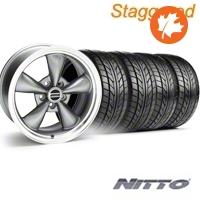 Staggered Bullitt Anthracite Wheel & NITTO Tire Kit - 17x9/10.5 (94-98 All) - American Muscle Wheels KIT
