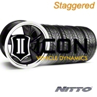 Staggered Black Bullitt Wheel & NITTO Tire Kit - 17x9/10.5 (94-98 All) - AmericanMuscle Wheels KIT||28113||28261||76012||76014