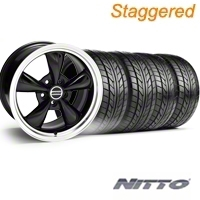 Staggered Black Bullitt Wheel & NITTO Tire Kit - 18x9/10 (94-98 All) - AmericanMuscle Wheels KIT||28264||28270||76002||76003