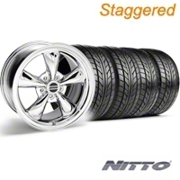 Staggered Chrome Bullitt Wheel & NITTO Tire Kit - 18x9/10 (94-98 All) - AmericanMuscle Wheels KIT||28265G94||28271||76002||76003