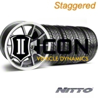 Staggered Anthracite FR500 Wheel & NITTO Tire Kit - 17x9/10.5 (94-98 All) - AmericanMuscle Wheels KIT||28090||28091||76012||76014