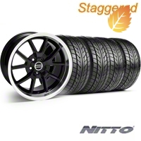 Staggered FR500 Black Wheel & NITTO Tire Kit - 17x9/10.5 (94-98 All) - American Muscle Wheels 28092||28093||76012||76014||KIT
