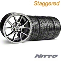 Staggered Black Chrome FR500 Wheel & NITTO Tire Kit - 18x9/10 (94-98 All) - AmericanMuscle Wheels KIT||10103||10104||76002||76003