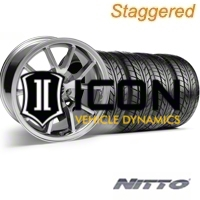 Staggered Chrome FR500 Wheel & NITTO Tire Kit - 17x9/10.5 (94-98 All) - AmericanMuscle Wheels KIT||28094||28095||76012||76014
