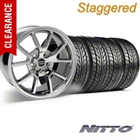 Staggered FR500 Style Chrome Wheel & NITTO Tire Kit - 18x9/10 (94-98 All) - American Muscle Wheels 28103||28273||76002||76003||KIT