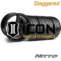 Staggered Black Saleen Style Wheel & NITTO Tire Kit - 18x9/10 (94-98 All) - AmericanMuscle Wheels KIT||28075||28252||76002||76003