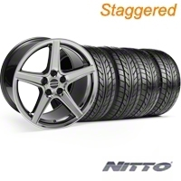 Staggered Black Chrome Saleen Style Wheel & NITTO Tire Kit - 18x9/10 (94-98 All) - AmericanMuscle Wheels KIT||10105||10106||76002||76003