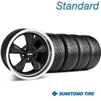 Matte Black Bullitt Wheel & Sumitomo Tire Kit - 18x9 (05-14 GT, V6) - AmericanMuscle Wheels KIT 28303G05||63008