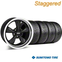 Staggered Matte Black Bullitt Wheel & Sumitomo Tire Kit - 18x9/10 (05-14 GT, V6) - AmericanMuscle Wheels KIT 28303G05||28305||63008||63009