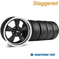 Staggered Matte Black Bullitt Wheel & Sumitomo Tire Kit - 17x9/10.5 (99-04 All) - AmericanMuscle Wheels KIT 28301G94||28302||63000||63003