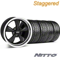 Staggered Matte Black Bullitt Wheel & NITTO Tire Kit - 18x9/10 (99-04 All) - AmericanMuscle Wheels KIT 28303G94||28304||76013||76003