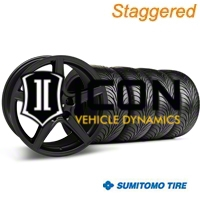 Staggered Matte Black Saleen Style Wheel & Sumitomo Tire Kit - 18x9/10 (05-14 GT, V6) - AmericanMuscle Wheels KIT 28306G05||28308||63008||63009