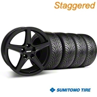Staggered Saleen Style Matte Black Wheel & Sumitomo Tire Kit - 18x9/10 (99-04 All) - American Muscle Wheels 28307||63006||63016||KIT 28306G94