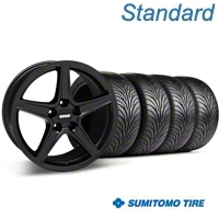 Matte Black Saleen Style Wheel & Sumitomo Tire Kit - 18x9 (94-98 All) - AmericanMuscle Wheels KIT 28306G94||63005