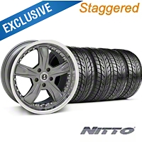 Shelby Staggered Razor Gunmetal Wheel & NITTO Tire Kit - 18x9/10 (05-14) - Shelby 27223||76009||76010||KIT 27221G05
