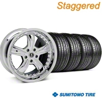 Staggered Chrome Shelby Razor Wheel & Sumitomo Tire Kit - 20x9/10 (05-14) - Shelby KIT 27229||27230||63024||63025