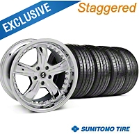 Shelby Staggered Razor Chrome Wheel & Sumitomo Tire Kit - 20x9/10 (05-14) - Shelby 27230||63024||63025||KIT 27229