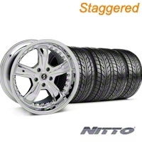 Staggered Chrome Shelby Razor Wheel & NITTO Tire Kit - 20x9/10 (05-14) - Shelby KIT 27229||27230||76005||76006