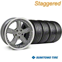 Staggered Gunmetal Shelby Razor Wheel & Sumitomo Tire Kit - 20x9/10 (05-14) - Shelby KIT 27224||27225||63024||63025