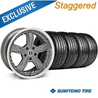 Shelby Staggered Razor Gunmetal Wheel & Sumitomo Tire Kit - 20x9/10 (05-14) - Shelby 27225||63024||63025||KIT 27224