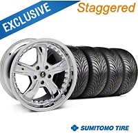 Shelby Staggered Razor Chrome Wheel & Sumitomo Tire Kit - 18x9/10 (99-04 All) - Shelby 27227||63006||63016||KIT 27226G94