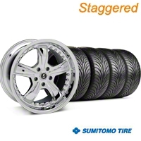 Staggered Chrome Shelby Razor Wheel & Sumitomo Tire Kit - 18x9/10 (94-98 All) - Shelby KIT 27226G94||27227||63005||63006