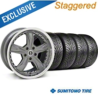 Shelby Staggered Razor Gunmetal Wheel & Sumitomo Tire Kit - 18x9/10 (99-04 All) - Shelby 27222||63006||63016||KIT 27221G94