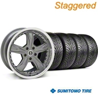 Staggered Gunmetal Shelby Razor Wheel & Sumitomo Tire Kit - 18x9/10 (94-98 All) - Shelby KIT 27221G94||27222||63005||63006