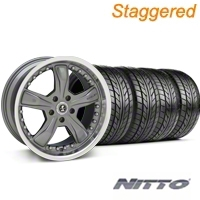 Staggered Gunmetal Shelby Razor Wheel & NITTO Tire Kit - 18x9/10 (94-98 All) - Shelby KIT 27221G94||27222||76002||76003