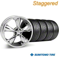 Staggered Chrome Foose Legend Wheel & Sumitomo Tire Kit - 20x8.5/10 (05-14 GT, V6) - Foose KIT 32800||32801||63024||63025