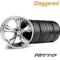 Staggered Chrome Foose Legend Wheel & NITTO Tire Kit - 20x8.5/10 (05-14 GT, V6) - Foose KIT 32800||32801||76005||76006