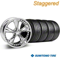 Foose Staggered Nitrous Chrome Wheel & Sumitomo Tire Kit - 20x8.5/10 (05-14 GT, V6) - Foose 32806||63024||63025||KIT 32805