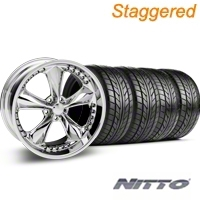 Staggered Chrome Foose Nitrous Wheel & NITTO Tire Kit - 20x8.5/10 (05-14 GT, V6) - Foose KIT 32805||32806||76005||76006